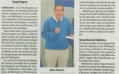 Jesús Elizari, Provincial Escolapios Emaús, habla sobre el futuro de nuestro colegio.