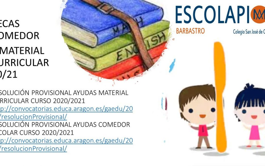 BECAS COMEDOR Y MATERIAL CURRICULAR 2020-2021