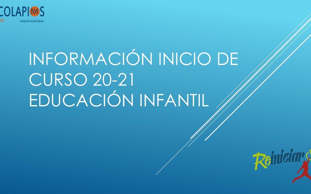 INFORMACIÓN  INICIO DE CURSO 20/21 PARA TODAS LAS ETAPAS