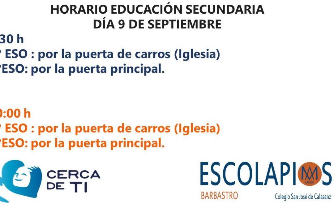 HORARIO EDUCACIÓN SECUNDARIA 9 DE SEPTIEMBRE
